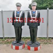 交通仿真警察立正款玻璃钢假警察模特警察塑像